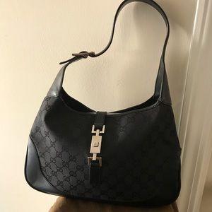 Gucci Jackie O Black monogram canvas/leather hobo